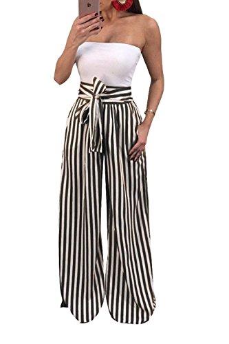 Cravatta Pants Trousers Autunno Baggy Baggy Pantaloni Pantaloni A Primaverile Donna Tasche Con Pantaloni Alta Damigella Vita Nero Farfalla Bendare A Cerniera Casual Moda Righe Larghi Eleganti Con Lunga xPd6dXq0