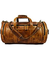 Leather Travel Duffle Barrel Bag - Weekend Overnight Bag By Aaron Leather