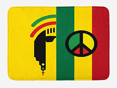 Rasta Bath Mat Iconic Barret Reggae and Jamaican Music Culture with Peace Symbol and Borders Plush Bathroom Decor Mat with Non Slip Backing Red Green 40