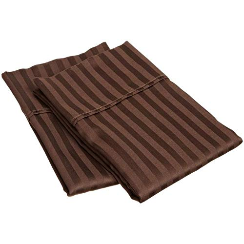 Chocolate Stripe Premium 600 Thread Count Ultra-Soft Egyptian Cotton Quality 2pc Set of Pillow Cases, Silky Soft & Wrinkle Free (ALL COLORS/SIZES)-King Size BY- ARlinen