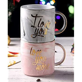 5d6dca44108 Luspan I Love You Love You More Coffee Mugs Set - Funny Valentine's Day  Gifts For Him Her - Gift for Bridal Shower Engagement Wedding and Married  ...