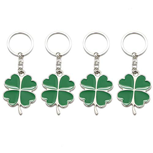 (Monrocco 4 Pcs Green Color Lucky Keychain Four Leaf Clover Key Chain)
