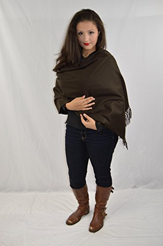 Cashmere Pashmina Group-Cashmere Shawl Scarf Wrap Stole (Solid/ Reversible Print w/ Genuine Fur) - Solid Dark Coffee
