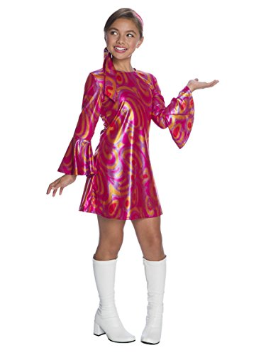 Charades Little Girl's Fuchsia Swirl Disco Diva Childrens Costume, as Shown, Large -