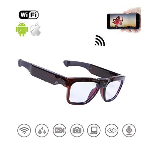 WiFi Live Streaming Video Sunglasses, Streaming Videos & Photos from Glasses to Mobile Phone by App with Ultra Full HD Camera, Built-in 64GB Memory and Blue Light Blocking Glasses for ()