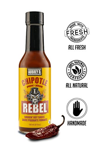 Dog Jerky Hot (Aubrey D. Rebel Chipotle Hot Sauce, Spicy Smoky for BBQ Beans, Braised, Slow Cooked Meat, Chicken)