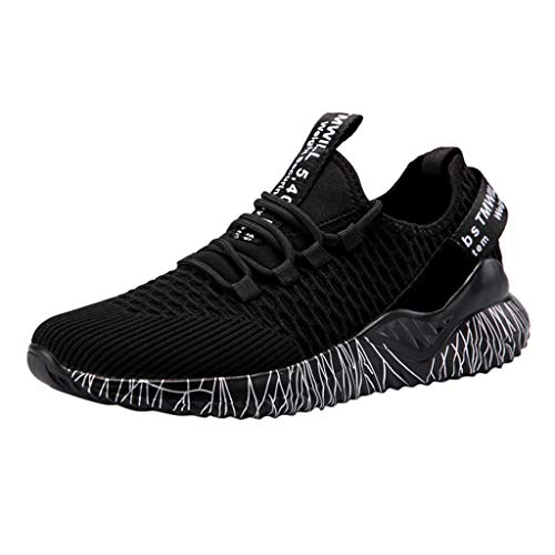 NOMENI Mens Lightweight Runn ing Shoes Athletic Tennis Slip on Walking Shoes Breathable Casual Fashion Sneakers Black (Best Budget Soccer Cleats 2019)