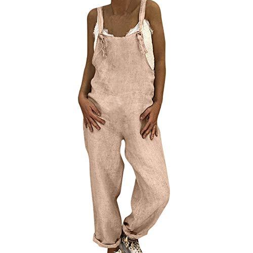 Toimothcn Women's Casual Linen Jumpsuits Overalls Baggy Bib Pants Plus Size Wide Leg Rompers (Khaki,L)
