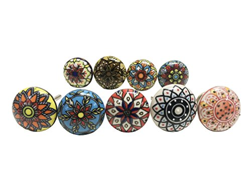 Assorted Ceramic Cabinet Door Wardrobe Cupboard Dresser Knobs Drawer Pulls Indian Handpainted (Set of 18)