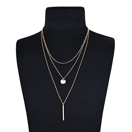 Women 2 Layers Gold Plated Coins Disc Necklace Gold - 2