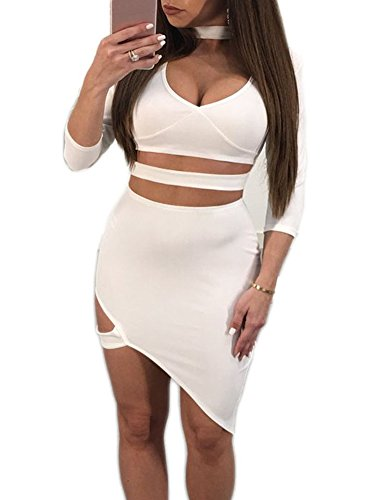 Playworld Womens Sexy Bodycon Dresses V Neck 3/4 Sleeve Asymmetric Halter Dress White Small