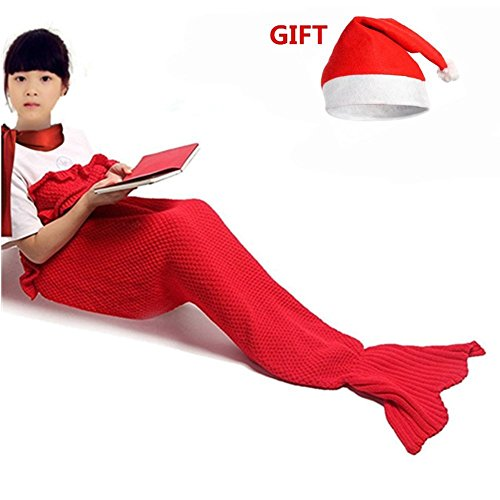 DDMY Handmade Knitted Mermaid Tail Blanket With Red Chrismas Santa Hat For Kids Crochet Seasons Warm Soft Durability Living Room Best Birthday Christm…