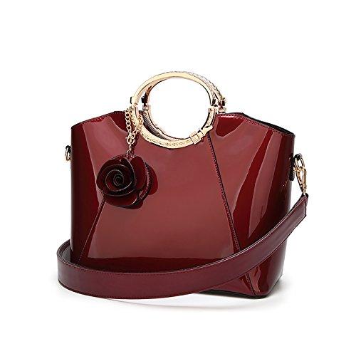 Tisdaini® Damenhandtaschen Mode Schultertaschen Lackleder Shopper Umhängetaschen Weinrot