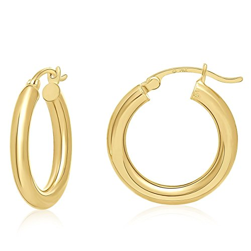 5 Different Finishes - MCS Jewelry 14 Karat Yellow Gold Large Round Hoop Earrings 3mm Thickness (Available in 5 Different Sizes) (25 mm Diameter)
