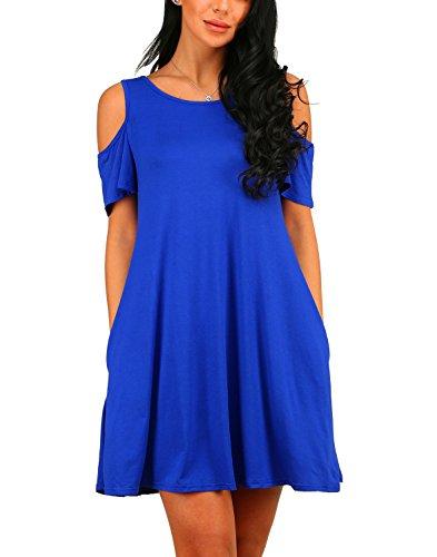 Amstt Sexy Women s Ruffle Blue Short Dress Open Sleeves Shoulder vEvrPqw