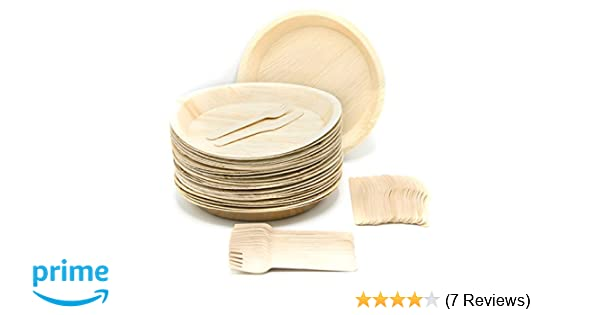 14e0276e54b Amazon.com  Eco-Friendly Disposable Dinnerware Set of 75 Party Supplies   Large 10