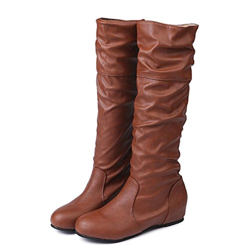 High Ugg Boots Quality (Creazy Women Winter Flat Solid Color Martin Pointed High Long Boots Casual Shoes (Brown, 39))