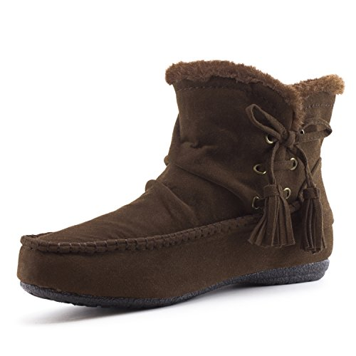 Brown Ankle Size Insulation Zipper Suede Booties Fur Kali Women's Adults Faux wq0vvX