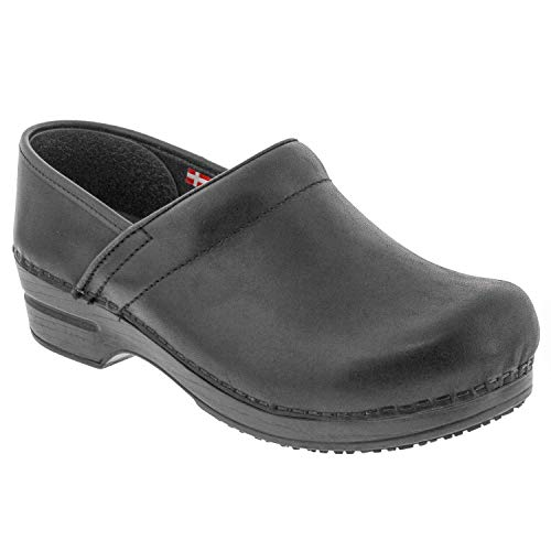 - Sanita Professional SMARTSTEP Kirstin Black Leather Clogs (Factory 2nd)- EU-39