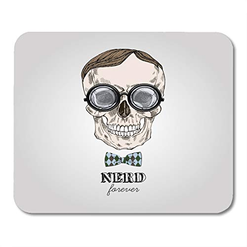 Boszina Mouse Pads Funny Nerd Hand Drawn Scull in Nerdy Glasses Geek Style Cool Halloween Mouse Pad for notebooks,Desktop Computers mats 9.5