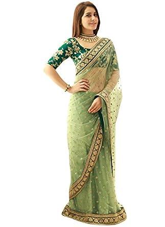 7df8d7d0d1 Isha Enterprise Women's Nylon Net Saree With Blouse Piece (Kfpsn-14_Green)
