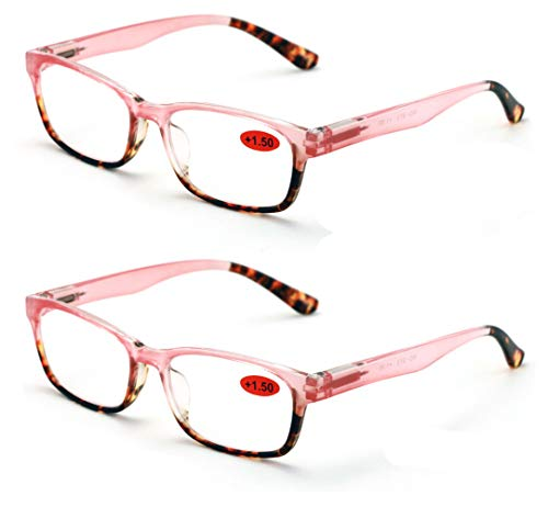 2 Pairs of Stylish Classic Rectangle Reader With Spring Hinges Women Half Translucent Tortoise Reading Glasses (Pink, 1.50)