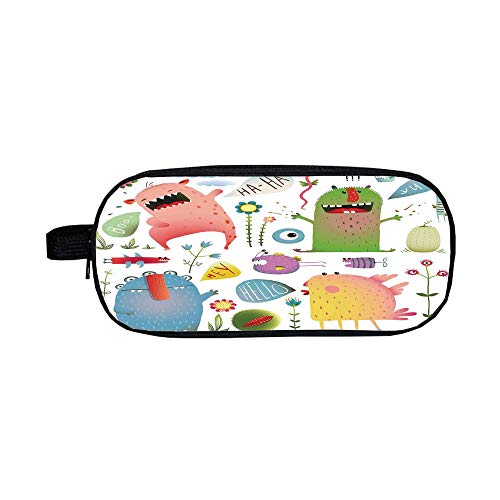 (iPrint Pencil case Polychromatic Optional,Funny,Imaginary Creatures Fun Colorful Laughing Childish Monsters with Flowers Cartoon Art,Green Blue,3D Print Design)