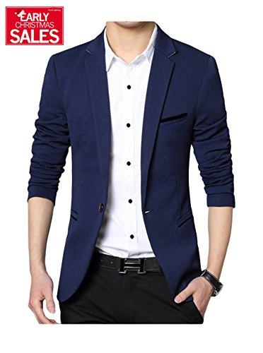 Men's Slim Fit Casual One Button Formal Suit Blazer Coat Jacket Navy US Medium/Label XXX-Large (Blazer Coat)