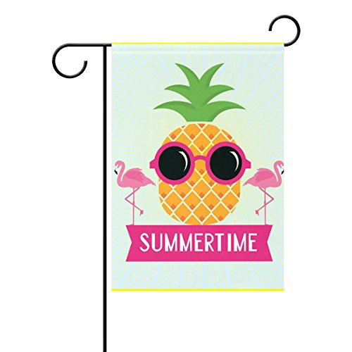 (ALAZA Duble Sided Tropical Cool Pineapple and Pink Flamingo Summertime Holiday Party Polyester Garden Flag Banner 12 x 18 Inch for Outdoor Home Garden Flower Pot)