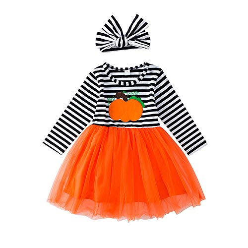 Toddler Baby Girl Halloween Pumpkin Print Dress Long Sleeve Striped Skirt Outfits Clothes with Headband 2T