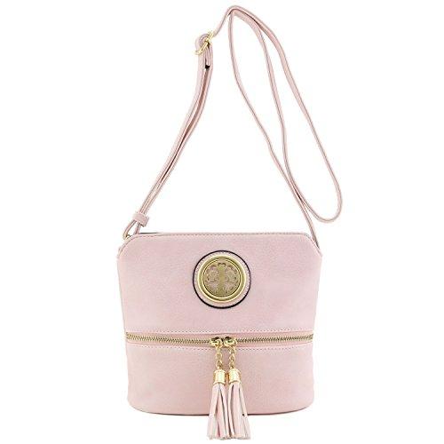 Blush Crossbody with Tassel Emblem Accent Bag Small EHxYqv