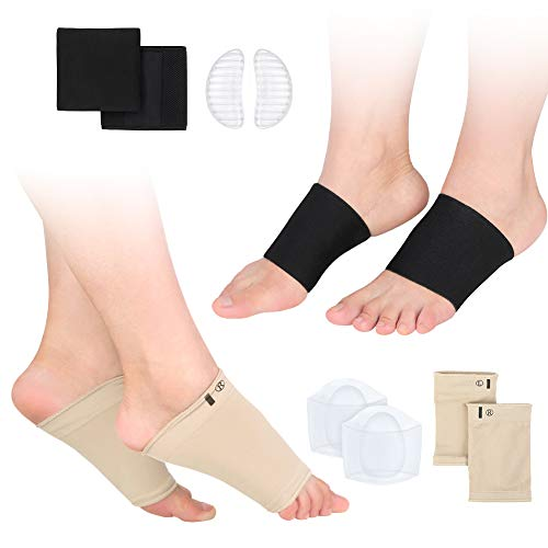 Foot Arch Support Sleeves and Original Silicone Gel Pads Set
