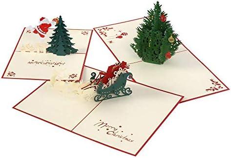 3d Pop-up tarjetas de Navidad temporada, papel arte y artesanía, pack de tres PC x mas Árbol, cláusula de Papá Noel y reno, Amazing hecha a mano regalo: Amazon.es: Oficina y papelería
