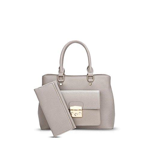 Nicole & Elegant Doris Tote Handbags Women Purses Crossbody Bag Women Handbag Shoulder Bag Waterproof Durable Pu 2pcs Gray