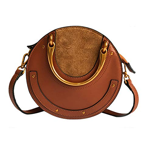 Yoome Elegant Rivet Bag Punk Purse Circular Ring Handle Handbags Cowhide Crossbody Bags For Women (Brown)