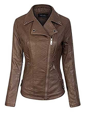 Instar Mode Women's Fashion Motorcycle Quilted Faux Leather Jacket Brown XS