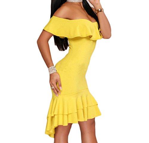 Ruffle Women Slim Midi Shoulder Dress Beach Swing Yellow Bodycon Domple Off Strapless Tq8XdXO4