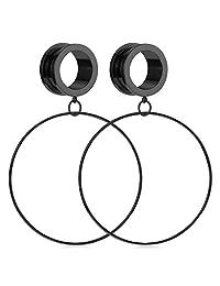D.Bella Surgical Steel Ear Tunnels Gauges Stretcher Ear Plugs Expander Screwing Back Dangle Hoop Earring Earlobe Piercing 4-20mm
