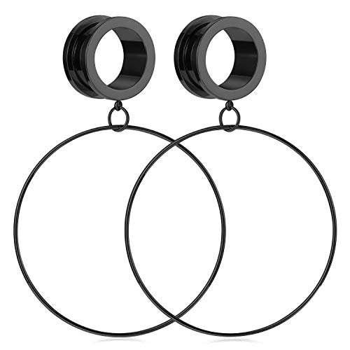 Briana Williams Surgical Steel Ear Tunnels Large Hoop Dangle Ear Plugs Expander 4mm Gauges for Ears Stretcher Piercing -Black (Ears Hoop For Gauges)