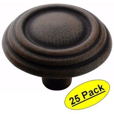 Amerock BP1307-ART Traditional 3 Ring Antique Rust Finish Cabinet Hardware Knob - 1-1/4