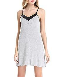 Womens cotton Chemise Sleepwear Slip Nightgown Sling Dress by NORA TWIPS(XS-XL)