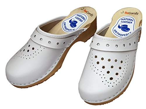 With White Malli Clogs Aitoa Valkoinen Leather Becomfy Sole Puinen Model Naisten Vk42 Women's Becomfy Vk42 Nahkaa Pohjat Genuine Tukkii Wooden I6xFw1R4q