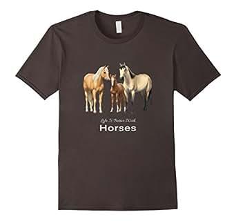 Men's Life Is Better With Horses T-Shirt 3XL Asphalt