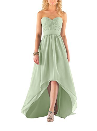 Yangprom Sweetheart Ruched Chiffon A-Line High Low Bridesmaid Dress (4, Sage) (Sweetheart Ruched Dress)