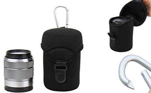 Neopren Schutzhülle / Köcher mit Karabinerhaken - Größe L (62 mm x 110 mm) z.B. F3.5-5.6 OIS III/Samsung 18-55mm F3.5-5.6 OIS/Canon EF-M 18-55mm f/3.5-5.6 IS STM/Sony E 18-55mm F3.5-5.6 OSS/Fujifilm XC 16-50mm F3.5-5.6 OIS/Olympus M.Zuiko Digital ED 60mm 1:2.8 Macro, etc.
