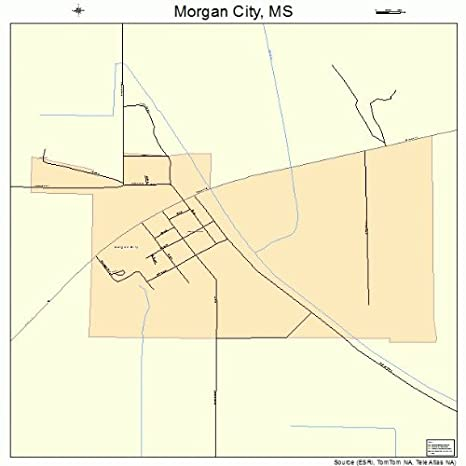Amazon.com: Large Street & Road Map of Morgan City, Mississippi MS ...