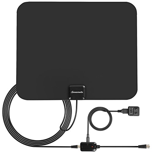 Dewenwils Amplified HDTV Antenna 50 Mile Range with Detachable Signal Booster & 10' Coaxial Cable, Indoor Hi-V Digital TV Antenna, 30dB High Gain, (OTA, VHF / UHF)