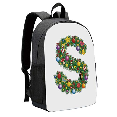 (Letter S Durable Backpack,Pine Design Letter S Christmas Ornaments Colorful Balls Stars Multicolored Pattern Decorative for School Travel,12