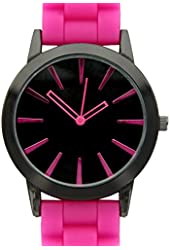 New Geneva Hot Pink w/ Black Silicone Watch