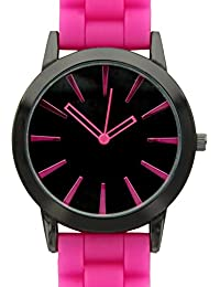 New Hot Pink w/ Black Silicone Watch
